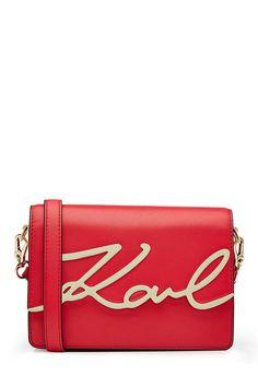 KARL LAGERFELD Karl Leather Shoulder Bag. #karllagerfeld #bags #shoulder bags #leather #