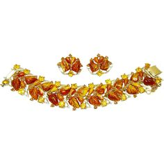 Vintage Rousseau Amber Fruit Salad Topaz Rhinestone Bracelet Earring Set offered by The Vintage Carousel