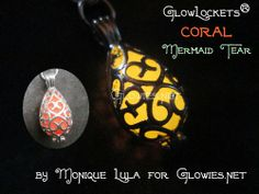 Coral Mermaid Tear Glow Locket® by Monique Lula for Glow Mermaid collection at Glowies.com