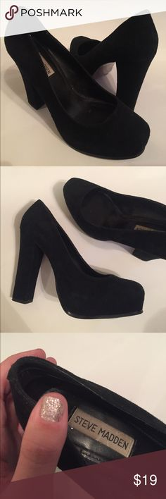 Steve Madden heals Steve Madden black suede 4 1/2- 5 inch heals. Swear these shoes make your legs look bomb!!! Size 10 Steve Madden Shoes Heels
