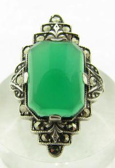 Vintage Art Deco Sterling Silver Uncas Chrysoprase Marcasite Ring Size 5