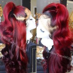 full lace red human hair wig - All For Hairstyles Long Weave Hairstyles, Short Hair Updo, Ponytail Hairstyles, Black Hairstyles, Formal Hairstyles, Wedding Hairstyles, Hairstyle Men, Short Hair Styles Easy, Curly Hair Styles
