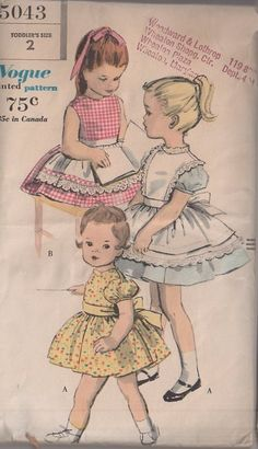 MOMSPatterns Vintage Sewing Patterns - Vogue 5043 Vintage 60's Sewing Pattern PRECIOUS Toddler GIrls Fancy Alice In Wonderland Style Puff Sleeve, Full Circular Skirt Party Dress, Bib Pinafore, Apron Size 2