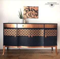 This lovely vintage sideboard has been painted in fusion mineral paint midnight blue and metallic copper *** plus delivery costs if courier. Copper Furniture, Mcm Furniture, Colorful Furniture, Furniture Projects, Furniture Makeover, Painted Furniture, Painted Sideboard, Vintage Sideboard, Modern Sideboard
