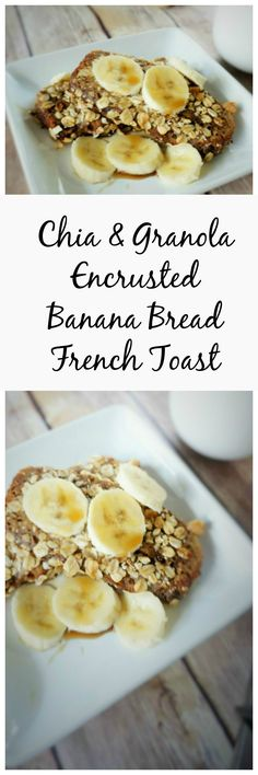 Chia and Granola Crusted Banana Bread French Toast: A whole new way to look at French Toast! Banana bread is dipped in a vanilla custard and then breaded in granola, nuts, and chia seeds and pan fried in coconut oil. It is rich and decadent and will make you swoon!