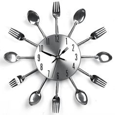 horloge murale design couverts. cette horloge originale est ... - Montre De Cuisine Design