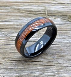 Black Tungsten and Koa Wood Wedding Band, Tungsten Ring, Comfort Fit With Koa Wood Inlay Wide Koa Wood inlay Comfort fit design Includes Free Ring Box Choose your size Black Tungsten Black Tungsten Rings, Tungsten Wedding Rings, Wedding Ring Styles, Wedding Bands, Wedding Ideas, Ring Ring, Popular Engagement Rings, Wood Rings, Black Rings
