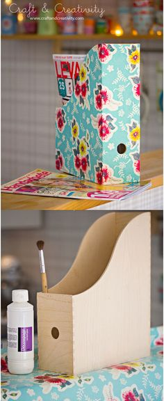 DIY - Update an IKEA Knuff Magazine File with Decoupage + Wrapping Paper
