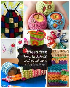 15 fun back to school patterns on the Daisy Cottage Designs blog. Get your child ready to head back to school by making some of her school supplies.
