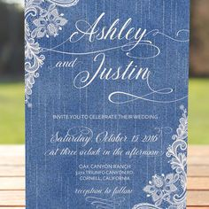 Denim and Lace wedding invitation set shown in light denim. I love the blend of lace over denim for a country chic wedding theme. There is so much you can do with decor and dresses. Have fun and let your guests know to wear their boots and bling!