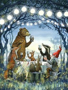 """Bear's Moonlight Feast"""" is completed at last! Illustration Mode, Illustration Artists, Kobold, Fairytale Art, Fairytale Drawings, Fairy Art, Pics Art, Whimsical Art, Cute Art"""