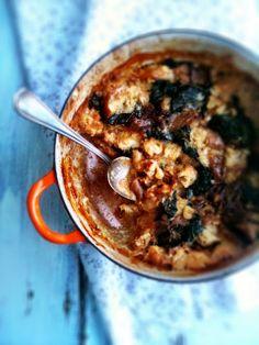 sweetsugarbean: Cozy: Savoury Kale & Caramelized Onion Bread Pudding