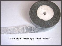 Ruban organza paillette fil métallique couleur argent glitter : Rubans par lapetiteboutiquepourlescreatifs