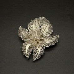 Sterling Silver Filigree Orchid Brooch - 1950s Vintage Jewelry - Handcrafted Openwork Silver - 925 Silver Filigree Flower - Artisan Jewelry at  VintageArtAndCraft