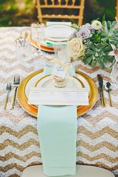 Gold and mint table setting