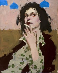 A Moment with Her Cigarette | Oil | 10 X 8 Inches