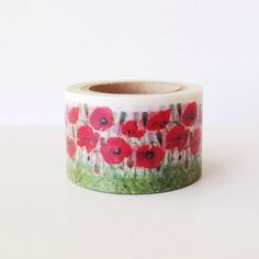 Pretty 30mm Wide Washi Tape Red POPPY Washi Tape Floral Flowers from PrettyTape on Etsy