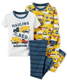 Carter's brings some rugged-fun style to baby boy's bedtime routine with this four-piece cotton pajamas set, featuring a playful construction theme. | Cotton | Machine washable | Imported | Graphic to