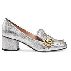 Gucci Metallic Mid-Heel Pump featuring polyvore, women's fashion, shoes, pumps, silver, women, black leather shoes, black fringe shoes, metallic shoes, metallic pumps and gucci shoes