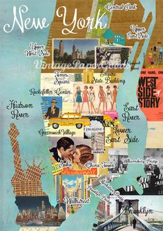 NEW A3 Size: Vintage New York City Map Collage poster print on wooden background, wall art