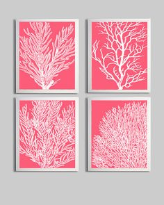 For the bath-Coral Ocean Beach Sea Prints by ZeppiPrints, etsy
