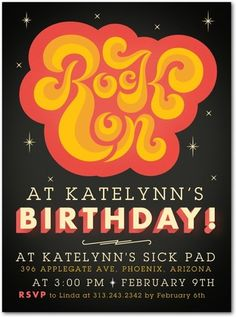 Groovy Type - Birthday Party Invitations in Coral | Petite Alma