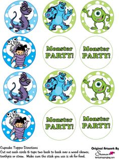 Cupcake Toppers, Monsters Inc, Party Decorations - Free Printable Ideas from Family Shoppingbag.com