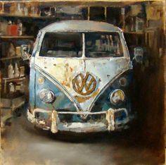 Seablue Deluxe Bus (study), 20x20, oil on panel, Santiago Michalek, VW painting, Volkswagen painting, bus painting, oil painting