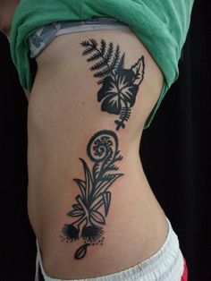 Pohutukawa, flax, ferns, koru and a hibiscus. New Zealand Tattoo