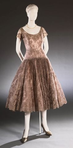 Woman's Cocktail Dress  Designed by Fernanda Gattinoni, Italian (active Rome), 1909 - 2002  Geography: Made in Italy, Europe Date: c. 1954 Medium: Cotton lace, nylon tulle, and silk taffeta