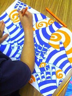 Lesson Plan Wednesday: Color Theory, Op-Art Hands ~ Artful Artsy Amy