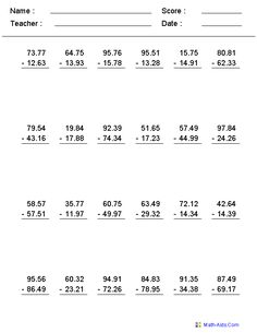 Decimal Numbers Subtraction Worksheets
