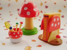 Re-ment mushroom set. I love Re-Ment and everything miniature. Their sets are so tiny and so perfect!