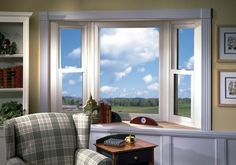 Triple Pane Replacement Windows - superior insulation, sound control and condensation resistance make these innovative products an Energystar favorite. Casement Windows, Windows And Doors, Bow Windows, Vinyl Windows, Bay Window Design, Window Replacement, Window Sill, Family Room, House Design
