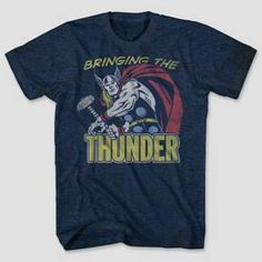 "Summon some Asgardian power of your own with this Thor Bringing The Thunder Graphic T-Shirt. This awesome graphic tee will keep you cool in the heat of battle, and the comic book image makes this a must-have shirt for any true Marvel fan. As Odin would say, ""whosoever wears this shirt, if he be worthy, shall possess the ultra-cool look of Thor!"""
