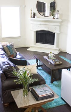 At Home Style Revamp, Boho Living Room: My Diary of Us Featuring Rugs USA Winsdor Overdyed Grove Turquoise Rug. Area rug, living room, home decor, rugs usa, turquoise