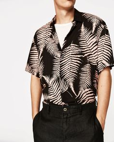 shirt with fern print from Zara Trendy Mens Fashion, Men's Fashion, Themed Outfits, Party Outfits, Holiday Fashion, Holiday Style, Havana Nights, Night Outfits, Everyday Outfits