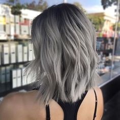 Are you looking for the most flattering silver/ grey hair color ideas and styles? Pelo Color Gris, Silver Grey Hair, Grey Blonde Hair, Short Silver Hair, Grey Ombre Hair Short, Ash Grey Hair, Grey Hair Dye, Grey Hair Dark Roots, Silver Hair Colors