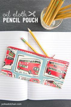 Oil Cloth Pencil Pouch