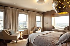 San Francisco-based studio De Meza + Architecture completed the Pacific Heights Penthouse project in collaboration with interior designer Jennifer Kesteloo Modern Bedroom Design, Contemporary Bedroom, Interior Exterior, Interior Architecture, My Home Design, House Design, Deck Design, Home Bedroom, Bedroom Decor
