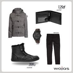 W jesiennej stylizacji nie może zabraknąć ocieplanych  trzewików nad kostkę  marki Wojas (3210-51), kurtki – budrysówki oraz prostych spodni. Całość uzupełniają portfel Wojas (3950-51) oraz modny zegarek.