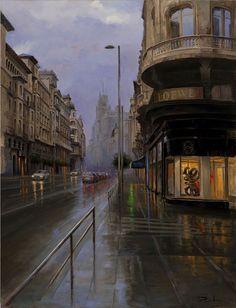 La Gran Vía entre dos luces (Madrid) - Ricardo Sanz - Óleo sobre lienzo. 116×89 cm.