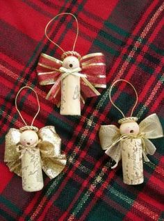 Caroling Wine Cork Christmas Angels Ornaments - could be easy to make Christmas Projects, Holiday Crafts, Holiday Fun, Fun Crafts, Christmas Ideas, Christmas Angel Crafts, Etsy Crafts, Wine Cork Ornaments, Wine Cork Crafts