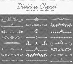 Hand Drawn Dividers Borders Clipart Vector EPS Chalkboard by AzmariDigitals