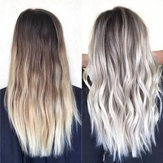 25 Trendy Ideas For Hair Color Silver Blonde Balayage Icy Blonde, Ashy Blonde Balayage, Platinum Blonde Balayage, Light Ash Blonde, Ash Blonde Ombre Hair, Brunette Ombre, Going Blonde, Bright Blonde, Bright Hair