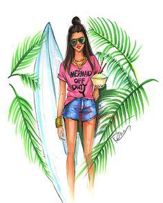 Ilustración de sirena arte Surfer arte de por RongrongIllustration