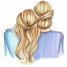 Nichols Illustration H. Tumblr Drawings, Bff Drawings, Art Drawings Sketches, Friends Sketch, Mother Daughter Art, Best Friend Drawings, Dibujos Cute, Illustration Girl, Best Friends Forever