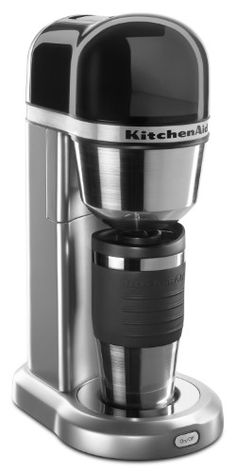 Kitchenaid Personal Coffee Maker With 18 Oz Thermal Mug Contour Silver Kcm0402cu