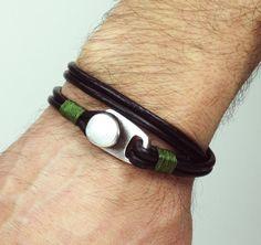 Men's Leather Bracelet. Men Bracelet Double Wrap , Black leather bracelet with silver plated button clasp