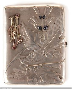 FABERGÉ Karl (Carl), 1846-1920 (Russia) Title : A CIGARETTE CASE Date : 1896/1908   Category : Silver Medium : : Silver-gilt and gem-set